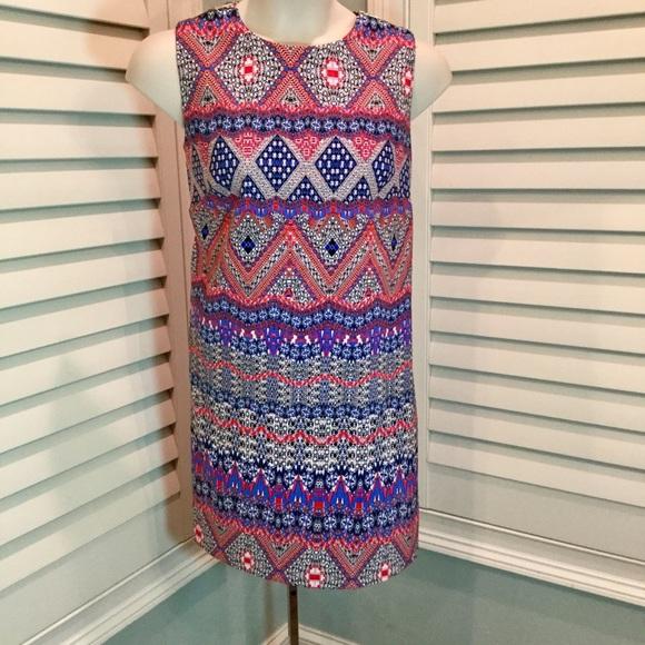 AB Studio Geometric Print Shift Dress, 16, EUC